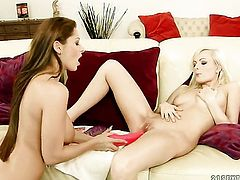Blonde whore with gigantic breasts cant keep her fingers off Bianca Goldens pussy