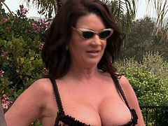 Sex hungry cougar Raquel Devine with nice big tits takes off her bikini in front of black pool boy to take his beefy cock up her neatly trimmed mature pussy. She enjoys interracial cock riding under the open sky.