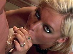 Crista Moore is a hot bodied blonde slut with big tits and bald pussy who loves hardcore sex. She sucks guys meat pipe like crazy and then gets her dripping wet fuck hole penetrated.