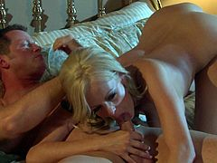 Fine looking milf blonde Stormy Daniels is horny as hell in the middle of the night. She rides on top of cock like theres no tomorrow after oral foreplay. She makes her man explode with ease.