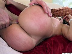 Seductive Julianna has a crazy ass, which she likes to bounce well, while riding her partner's cock. The horny brunette with sensual lips and piercing eyes, has also a pair of wonderful boobs, which she loves to expose shamelessly... Click to see her pussy and ass stuffed by a hard big dick.