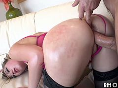 Saucy fair haired babe with juicy ass gets doggy fucked after steamy deep throat