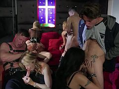 Asa Akira, Aubrey Addams, Jessica Drake, Kaylani Lei, Sarah Jessie and Vicki Chase are horny sluts that take lucky dudes meat pipes in every hole possible in this crazy fetish orgy.