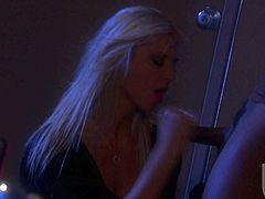 Fine looking leggy blonde Brooke Banner in short black dress gets her tight pussy heavily fucked in the dark. Beefy black guy with thick cock fucks lovely lady like theres no tomorrow.