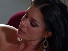 Slim long haired brunette India Summer is a fuck hungry skinny MILF with pretty small natural boobs. She takes hot dudes stiff dick in her tight fuck hole with big enthusiasm. India Summer loves hard sex.
