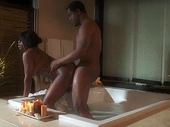 Curvy ebony lady Jada Fire with sexy thick ass and huge boobs takes a bath with a lucky guy and gets her wet cunt fucked in a wide variety of positions all over the bathroom.
