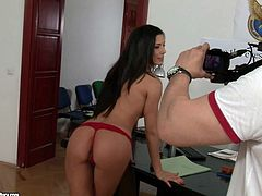 Tasty looking brunette secretary pleases her boss with awesome BJ