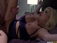 Summer Brielle is about to have her tight little fanny smashed real fucking hard while her huge tits are hanging loose. What a sight for sore eyes that is, to be honest