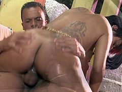 Short haired nasty girl Jordanna Fox with lovely hairless pussy loses her bikini and gets her anal hole filled with stiff cock. Watch her enjoy ass fucking in hot anal scene with tattooed guy.