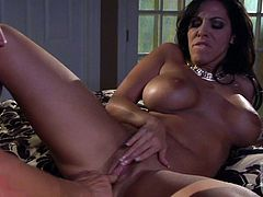 Dark haired woman Veronica Rayne is a cock hungry busty milf. Big breasted woman loves getting her juicy pussy tongue fucked after cock sucking. She is full of passion and desire.