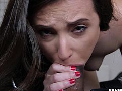 If you like pretty, slutty girls to entertain the atmosphere, click to watch a long-haired brunette, showing nude in front of a black guy. See this lusty bitch helping him unzip quicker his pants, just to taste his cock. Then, watch naughty Casey sucking it with a passionate desire!