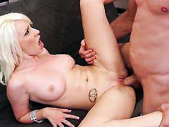 Stevie Shae has fire in her eyes while eating mans hard cock
