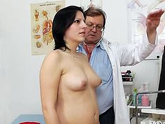 The brunette bitch with small natural tits is in the doctor's cabinet, eager not to skip her medical exam, programmed for this morning. Slutty Lydie gets undressed and lays down, exposing her naughty shaved cunt in front of the gynecologist. The atmosphere gets really kinky. Enjoy the details!