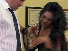 Chanel Preston, Jessica Drake and Kaylani Lei do it with a hot guy at the office in foursome action.He fingers their wet pink love holes and then drills hot ladies with his hard dick.