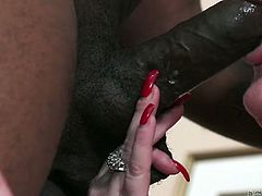 Brutal BBC sucks huge nipples and finger fucks pussy of horny busty grannie