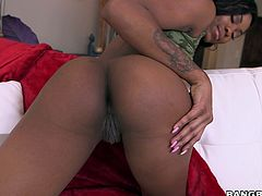 If you are passionate about horny bitches with chocolate skin and big round asses, click to meet sweet Nadia. The lovely brunette reveals her stunning boobs and appetizing pussy, fingering it with soft, sensual movements. Watch her sucking cock with fervor!