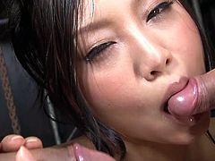 Salacious Asin chick Maki Takei playing with two small and thick cocks
