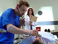 Redhead doctor has her anal jammed then creampied at work