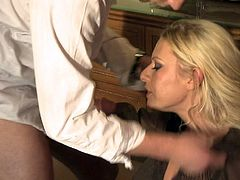 Cock hungry blonde in red Riley Evans drops on her knees and gets her mouth stuffed. She gives hot blowjob and then gets her lovely pink pussy licked with legs spread wide open.