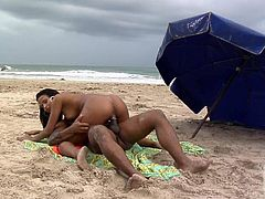 Bronze skinned sexy babe Marcella Moraes gets her shaved sexy pussy and her tight ass drilled in sand on the beach in RIo. Watch them have crazy beach sex under the open sky.