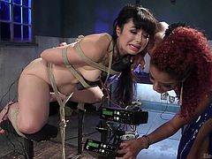 Siouxsie is a hot bitch, just craving to have fun. She got tied up and the experience of pain, mixing with a kinky pleasure, make her really aroused. The dominant redhead slut uses an artillery of sex toys, such as dildo and vibrator. Don't forget that electrodes are attached to the brunette's body parts!