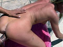 Brynn Tyler with natural boobs and hairless pussy is naked by the pool and ready to take hot guys meat pipe in her wet vagina. She gets her hole drilled in many positions right in the sun.