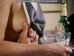 Curvy blond haired classy waitress gets fucked missionary style in the bar