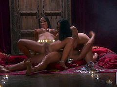Two juicy brunettes Carmella Bing and Mikayla Mendez both with nice huge tits gets their holes drilled in the dark in FFM threesome. Man has a good time banging with two busty babes at once .