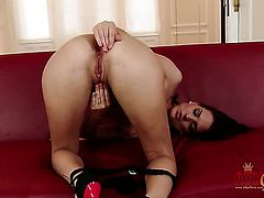 Brunette Lyen Parker does striptease before she masturbates with passion
