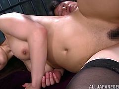 The presence of sensual Yuuka inside the prison cell, makes the atmosphere really hot... The busty naked Japanese with a hairy cunt is just craving for a hard dick, to suck and ride. Click to watch her banged sideways and enjoy! Her pussy looks even more inciting, when covered in delicious cum.