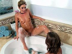 Presley Hart and Sheena Shaw are sexy lesbian ladies with hot asses and soaking wet pussies. They penetrate each others holes with their fingers in the bathroom. Watch lezzies play.