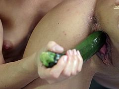 The lusty blonde bitch won't give up, until her sexy companion is not fully satisfied... The idea of using a cucumber, to stuff it in the brunette's appetizing pussy, seems more than convenient and exciting. See the naughty fair-haired slut face sitting, as her cunt is eaten with a wild passion.