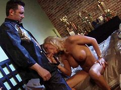 Super sexy MILF blonde Diamond Foxxx shows her awesome massive tits to her man in the bedroom and then gets her experienced mouth stuffed. Busty breathtaker gives headjob like a pro.