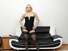 Sandy is an older woman, who looks pretty hot even for her age. The Czech milf shows off all her goodies, before slurping on a big black vibrator and using it, to fill her wet, aching hole. She strokes it in and out, moaning loudly as she does. Subscribe now, so you can see all of her video and others!