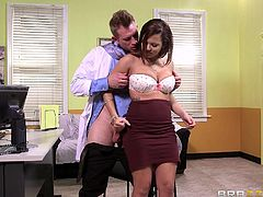 An attractive babe has come to visit her doctor. She clearly didn't expect him to be so young and dynamic, but will go with the flow and undress to show her tits and pussy. Click to watch the horny patient enjoying her ass being rimmed and opening her legs. See this lady banged hard from behind!
