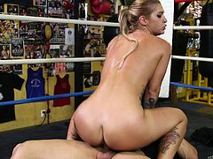Tattooed boxing babe Kleio Valentien fucked in the ring
