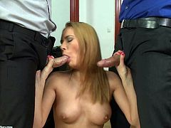 For Kerry Miller, it aint a hot threesome if there aint some big dicks involved. Shes going to blow those dongs like she had never seen a cock in twenty years.