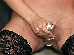 Sensual Jane gives a closeup of her twat as she masturbates with sex toy