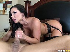 It's no wonder that this hot lady is craving for a hard dick. She looks so tempting, wearing that hot lingerie and kinky stockings... See her sucking cock in front of the camera. The atmosphere in the bedroom gets more intense, as this lovely brunette milf with amazing tits begins to ride cock.