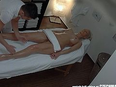 Blonde Tattoed Girl Fucked During Massage