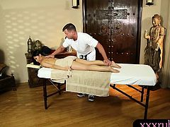 Cindy Starfall sucks off and facialed by her masseurs cock