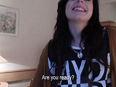Black haired european girl Daniella Rose gets picked off the street to suck cock in the comfort of a hotel room. Lovely clothed chick with pierced tongue gives perfect blow job on her knees from your point of view.
