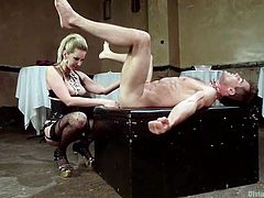 A slutty mistress humiliates Lance in an awful manner. The man is wearing a neck chain and has to obey the seductive blonde's orders... Click to watch sexy Madeline Marlowe, playing dirty with a kinky strap on. Guess what?! The guy's ass is gonna be strongly pounded! Don't miss the inciting handjob scene.