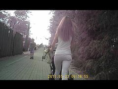 Blonde in white jeans - small ass
