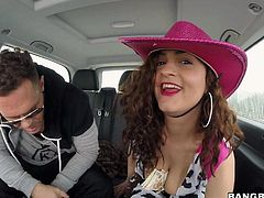 Theres a new chick on Bang Bus. Flirty woman in pink hat is going to show her big natural breasts to Nacho in the backseat. It looks like shes totally fuckable. Lovely lady!