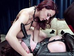 Busty Chanel gets really excited, when a submissive bitch, wearing a kinky strap on her face, fucks her peachy pussy. The horny guy is terribly using slutty Amanda, to fulfill his passionate desires. Enjoy the sexy details!