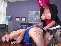 Slutty Anna Bell is a busty milf with red-dyed hair, who just adores to play the dominant role in a relationship. See her fucking naughty Tiffany with a kinky strap on from behind! Enjoy the inciting scene!