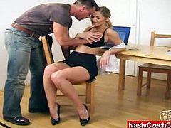 Sexy secretary Jane Darling, really hard fucking on her table in her office. She plays with his cock and dildo.