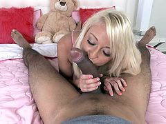 Welcome to slutty Valerie's bedroom! This blonde-haired slut is a naughty girl, who is eager to play with her partner's cock. See her sucking that big black dick and yummy balls with a lusty desire!