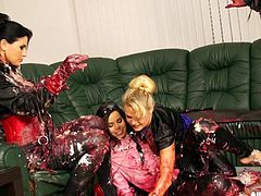 Naughty blondes get messy while smearing birthday cake on their bodies
